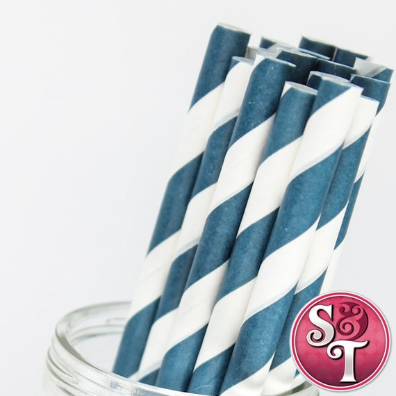 Stripe Navy Blue Party Paper Straws - Cake Pop Sticks - Pixie Sticks - Qty 25