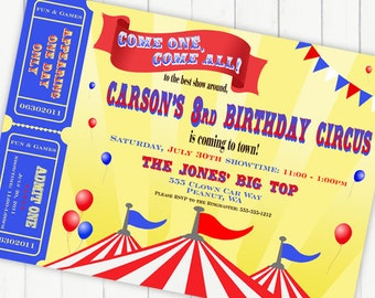 Circus Invitation Carnival Invitation Big Top with Tickets - Brights Primary Colors Collection - Gwynn Wasson Designs PRINTABLES