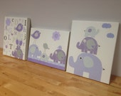 Nursery art, Baby room decor, Baby girl nursery wall art, purple and gray. set 3 11x14, lavender and grey, birds art, elephant nursery art
