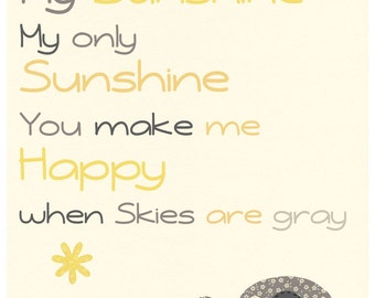 Kids Yellow and Gray Nursery Art Decor. Nursery Decor. Baby Boy Nursery Room Art. Baby Boy Owl.you are my sunshine. Yellow and Gray elephan