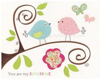 Kids wall art decor, Nursery wall Art, baby blue and pink, love bird Nursery Art, Nursery Décor Match Colors Caden Lane Finley Catalina