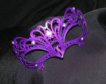 Purple Petite Metallic Masquerade Mask