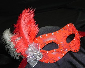 Lace Masquerade Mask in Red and Silver