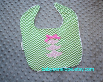 Clearance*** Boutique Style Baby Bib - Pink Christmas Tree -   Ready to Ship