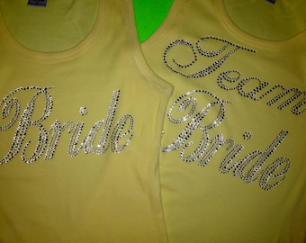 Team Bride Tank Tops. Yellow Team bride Tank Tops. Wedding Party Tank Tops. Bridal Party Tank Tops. Team Bride rhinestone tank tops. Wedding
