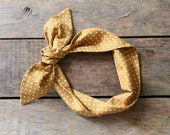 gold and white polka dot headscarf / boho / tie up headband / adjustable / summer fall fashion / knotted headband / stocking stuffer - SassyStitchesbyLori