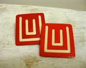 Vintage Clip Earrings Retro Modern Red and White Costume 1970's