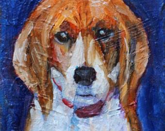 "Beagle Dog, Beagle Puppy, Dog Painting, Dog Portrait,  Original Oil Mini Painting,  Canvas 5""x5"", 1.5"" thick, White, Tan, Blue, Gift Item"