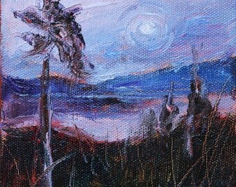 """Moon over Blue Mountains, Autumn Landscape, Winter Landscape,  Blue Ridge Mountains, Original Oil Painting,  5""""x5"""" on thick Canvas,Gift Item"""