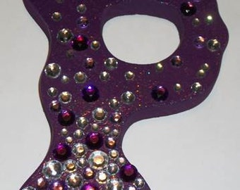 purple wooden letter P with bling