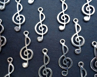 Silver Treble Clef Charms - 1 Inch Tall - Set of 20