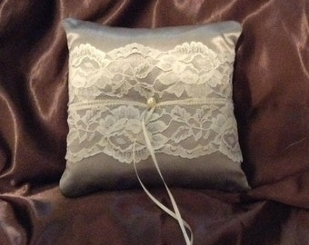 Custom made white or ivory lace personlised ring bearer pillow gray
