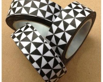 Black & White Triangles Washi Tape 15mm x 10m WT433