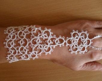 Bridal  of Tatted Slave Bracelet - Frivolite Lace White Glove-Wedding White