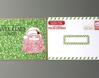 Holidays - Christmas - Personalized Handmade Letter from Santa - The Nice List - New Leaf  - ver 2 - Polar Express - Green