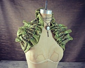 Glorious Apple Lime Green Beadwork and Sequins Victorian Steampunk Shoulder Wrap Sash Belt - NEW FALL 2013 - WaterlilyWorks