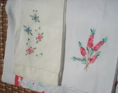 Vintage pair of guest  cream linen/cotton hand towel embroidered floral