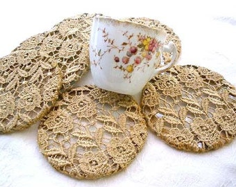 Personalized gift ,Cup coaster set Lace crochet ,Vintage  shabby chic  decor, Shabby chic coasters Holiday decor. Drink tea, Coffe coasters.