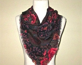 Vintage boho scarf FLORAL PAISLEY shawl