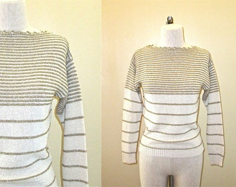 Vintage 70's sweater METALLIC GOLD striped - S / M