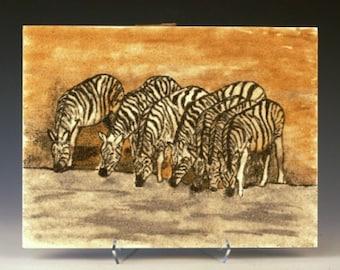 Zebras at waterhole 9 x 12 original sand painting Africa original art work wildlife painting sand art eco art natural