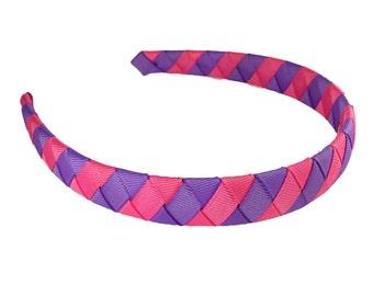 Lavender and Hot Pink Striped Headband - Purple and Pink Woven Headband - Wrapped Headband - Pick Your Pattern