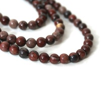 Red Picture Jasper beads, 6mm round natural gemstone bead, full & half strands available  (735S)
