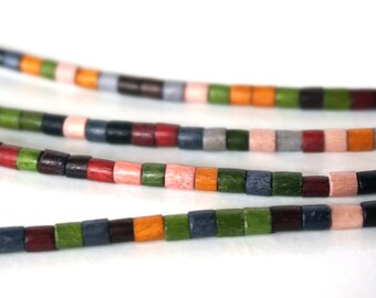 colorful wood heishi, 3mm to 4mm eco-friendly beads, full 24 inch strand (722R)