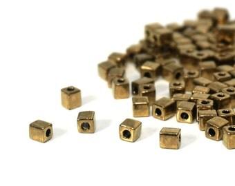metallic 4mm glass cube beads, metallic dark antiqued gold brass, Miyuki cubes, 200 beads (806SB)