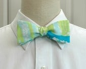 Men's Bow Tie, turquoise, aqua lime Sea R Chins linen bow tie, Lilly print, beach bow tie, wedding bow tie, groom bow tie, prom bow tie,