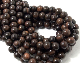 Tiger Ebony Wood, Round, 10mm, Smooth, Large, Natural Wood Beads, Full 16 Inch Strand, 40pcs - ID 1306