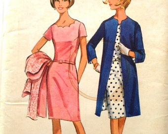 60s Butterick 4279 2251 Scallop Edge Sheath Dress with Coat Size 16 Bust 37