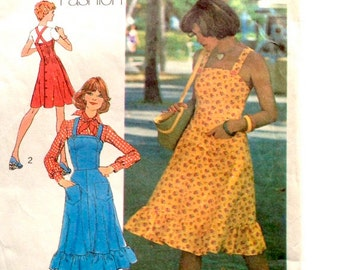 70s Simplicity 6926 Sun Dress with or Without Ruffle Young Contemporary Fashion - Size Jr 10 12 Bust 30 32