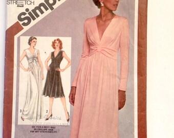 80s Simplicity 9829 Sleeveless Flared Maxi Dress or Knee Length Dress, V Neck Size 8 Bust 31