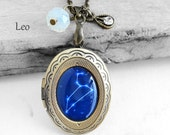 "Get 15% OFF - Handmade Resin ""Leo"" Constellation Sign Antique Bronze Oval Photo Locket Pendant Necklace - Labor Day SALE 2016"