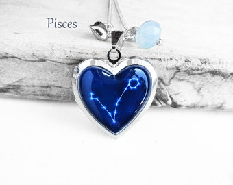 "Get 15% OFF - Double Sided - Handmade Resin ""Pisces"" Constellation Sign Silver Heart-shape Locket Necklace - Mother's Day SALE 2017"
