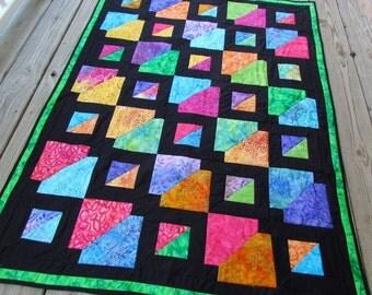 Quilt Pattern, quilt, batik, sewing, quilting, lap quilt, quilt design, rainbow, pdf pattern