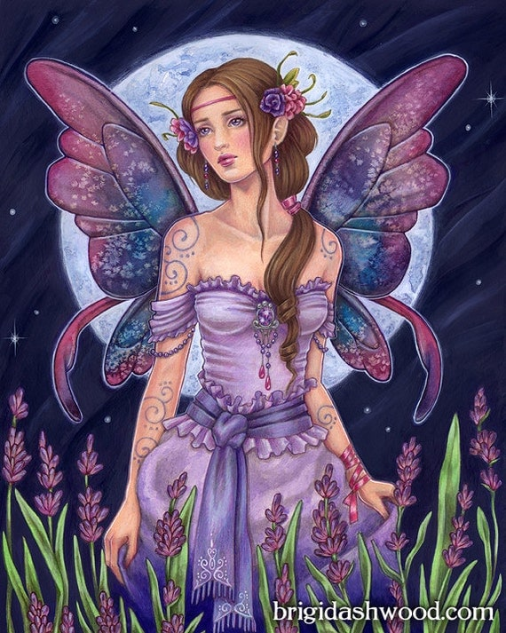 Items similar to Lavender Moon Fairy - Color - Art Print ...