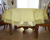 Tablecloth and 8 napkins set light yellow lace trim Imperial USA dinner party table linens vintage tableware Easter tea party formal dining