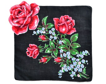 VINTAGE HANKIE, Single Giant Red Rose on Black, 5 Rose Buds, Blue Green Accents, Shaped Edge, White Hand Rolled Hem, Excellent Condition