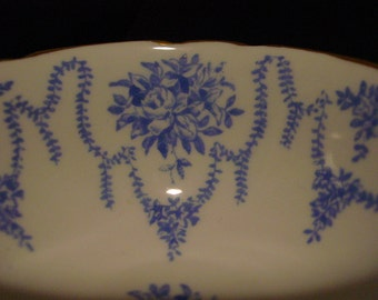 Coalport Tea Cup and Saucer 1940's Cyan Blue Flower Garland and Bouquets - Delicate - Wedding Table Setting