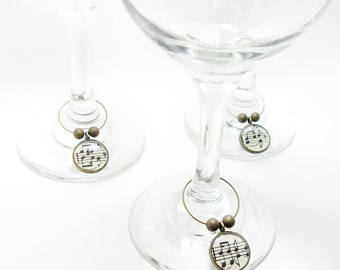 Vintage Sheet Music Wine Glass Charms. Set of Six. Gifts For Her. Music Lovers. Wine Lovers. Music Gift For Women. Home. Housewarming.