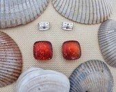 Red Dichroic Post Earrings, Fused Dichroic Glass Post Earrings, Dichroic Glass Jewelry- Molten Lava