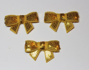 "Yellow  Sequin Bows - 1 1/2"" - Set of 3"