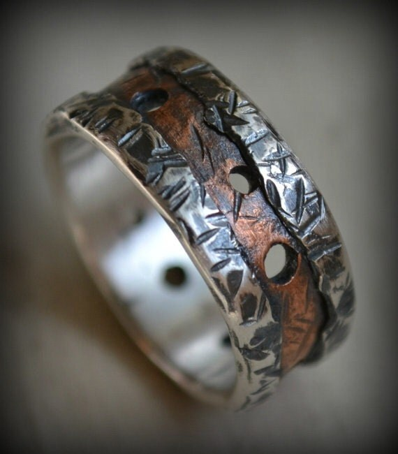 rustic fine silver and copper ring - men's wedding band - handmade hammered artisan designed wedding or engagement band - customized