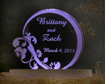 Floral  Contemporary  Wedding Cake Topper  - Engraved & Personalized - Light Extra