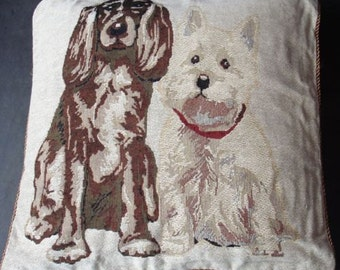 """18"""" TAPESTRY Dogs Vintage look Pillow Cover Designer Cushion Cover Throw Scatter Pillow. Decorative Pillow"""