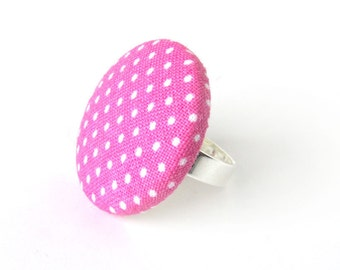 Large pink ring - polka dot ring - big fabric ring - pink button ring adjustable white bright pin up rockabilly