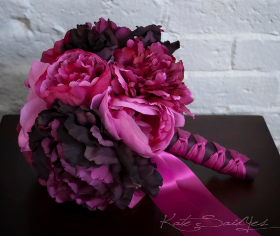 Fuchsia and Purple Peony Bouquet - Silk Wedding Bouquet - Ready To Ship
