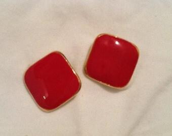 Vintage Red Earrings Gold Enamel Earrings